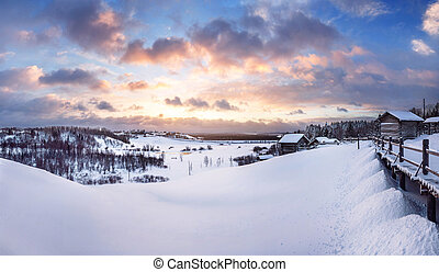 Beautiful winter sunset in Small Karelians near Arkhangelsk,...