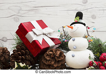 Old fashion Christmas message, Garland with a snowman, gift,...