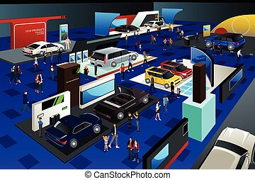 People Attending an Auto Show - A vector illustration of...