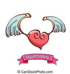 vector valentines day pink heart with angel wings
