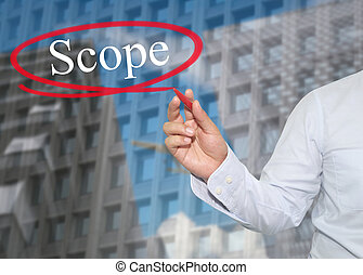 Hand of young businessman write the word Scope on...