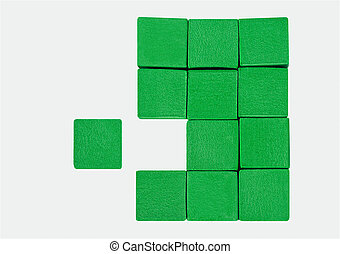 Perfect Fit - Three stacks of green blocks with one missing...