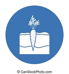 Carrot icon black. Single plant icon from the big farm, garden, agriculture black.
