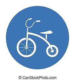 Tricycle icon in black style isolated on white background....