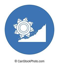 Bucket-wheel excavator icon in black style isolated on white background. Mine symbol stock vector illustration.