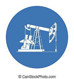 Oil pumpjack icon in black style isolated on white...