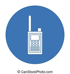 Handheld transceiver icon in black style isolated on white...