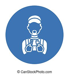 Plumber icon in black style isolated on white background....