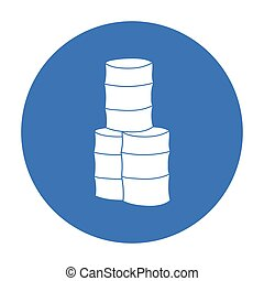 Barricade from barrels icon in outline style isolated on...