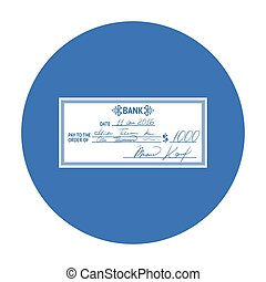 Cheque icon in black style isolated on white background....