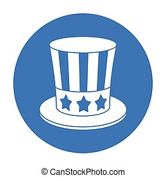 Uncle Sam s hat icon in black style isolated on white background. Patriot day symbol stock vector illustration.