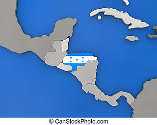 Honduras on globe - Map of Honduras with embedded national...