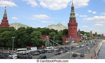 View of Moscow Kremlin on a sunny day, Russia-- Moscow...
