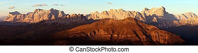 Gruppo di Tofana or Tofane Grupe, alps dolomites - Evening...