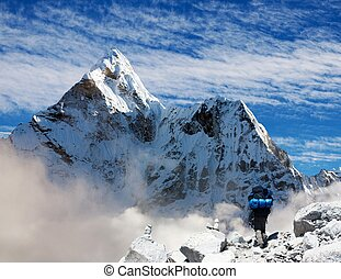 Ama Dablam with tourist and beautiful clouds - Beautiful...