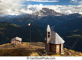 church or chapel on the mountain top Col di Lana - Small...