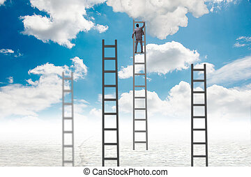 Businessman climbing stairs against the sky