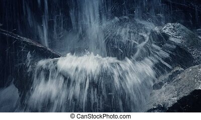 Moving Past Rugged Mountain Waterfall Closeup - Closeup...