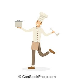 Happy chef with pan and ladle in the hands isolated on white background in cartoon style. Vector, illustration EPS10.