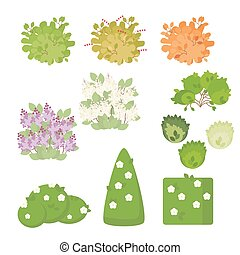 Set of outdoor plants and shrubs with flowers isolated on white background. Illustration in a flat style. Vector, EPS10.
