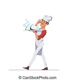 Chef carries a tray covered with a lid with a delicious dish. Cartoon Character isolated on a white background. Vector, illustration EPS10.