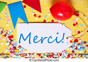 Party Label, Red Balloon, Merci Means Thank You - White...