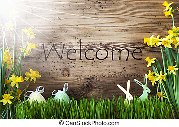 Sunny Easter Decoration, Gras, Text Welcome - Wooden...