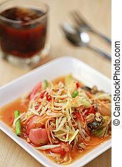 SOM TUM,Thai foods or papaya salad in spicy taste and is...