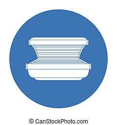 Tanning bed icon in black style isolated on white background. Skin care symbol stock vector illustration.