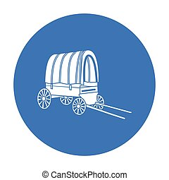 Cowboy wagon icon black. Singe western icon from the wild...