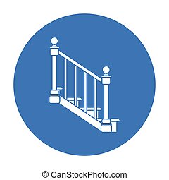 Stairs icon in black style isolated on white background....