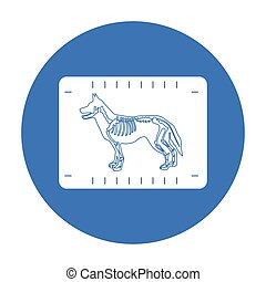 Dog x-ray icon in black style isolated on white background....