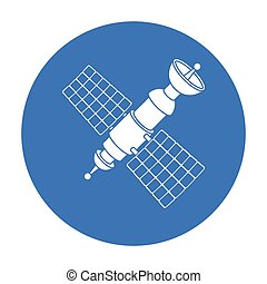 Satellite icon in black style isolated on white background....