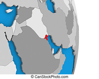 Kuwait on globe - Map of Kuwait in red on globe. 3D...