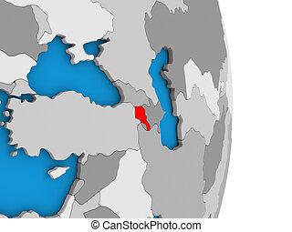 Armenia on globe - Map of Armenia in red on globe. 3D...