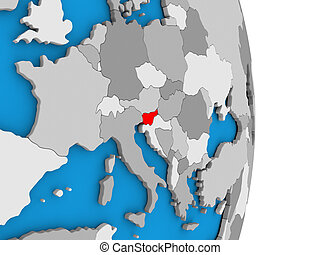 Slovenia on globe - Map of Slovenia in red on globe. 3D...