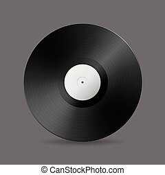 Realistic vector music gramophone vinyl LP record icon....