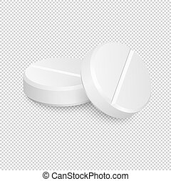 Two vector realistic medical pill icons.