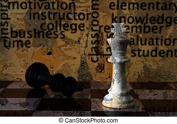 Chess and education grunge concept