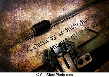 Claim form on vintage typewriter grunge concept