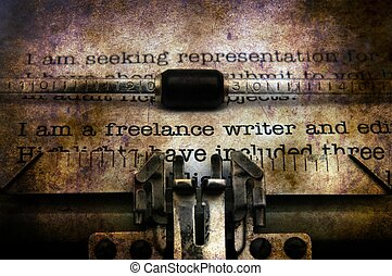 Freelance writer letter on typewriter