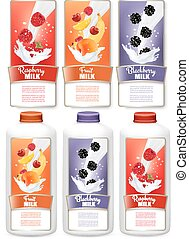 Set of three labels of chocolate and coconut milk splashes and bottles with tags. Vector.