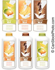 Set of three labels of  fruit in milk splashes and bottles with tags. Mango, bananas, chocolate. Vector.