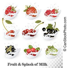 Big collection of fruit and berries in a milk splash. Raspberry, blackberry, strawberry, cherry, blackcurrant, blueberry