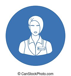 Restaurant waitress with a badge icon in black style isolated on white background. Restaurant symbol stock vector illustration.