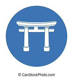 Torii icon in black style isolated on white background....