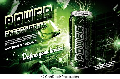 power drink green - energy drink contained in green can,...