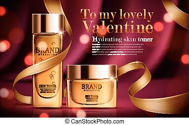 hydrating skin toner ad, contained in golden bottle and jar,...