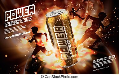 power drink golden - energy drink contained in golden can,...