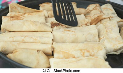 Traditional russian pancakes with curd. Close up - Frying...